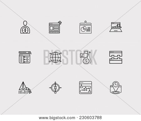 Search Icons Set. Seo Monitoring And Search Icons With Email Marketing, Conversion And Website Optim