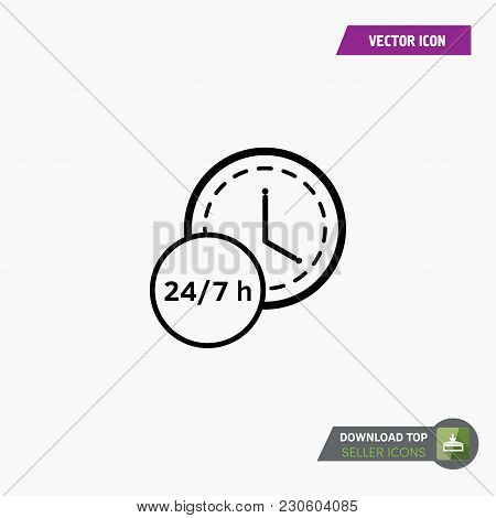 24-7 Icon Vector. Watch Timer Flat Icon For Apps And Websites. White Background.