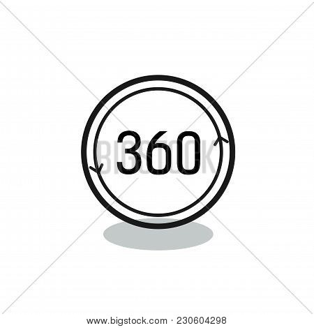 Three Hundred And Sixty Lettering In Circle. Full Rotation Sign. Typed Text, Calligraphy. For Websit