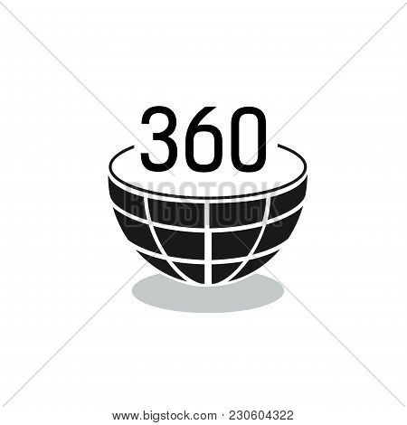 Three Hundred And Sixty Lettering In Half Globe. Full Rotation Sign. Typed Text, Calligraphy. For We