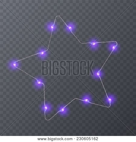 Set Of Colorful Garlands With Shape Of Stars. Holiday Decoration Garland, Vector Eps 10 Illustration