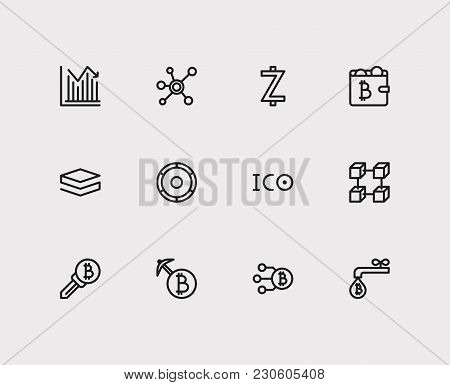 Crypto Currency Icons Set With Transaction, Altcoin And Node Elements. Set Of Crypto Currency Icons