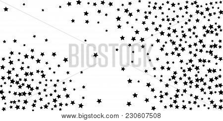 Abstract Flying Confetti Star. A Falling Star Background. Casual Black Stars Shine On A White Backgr