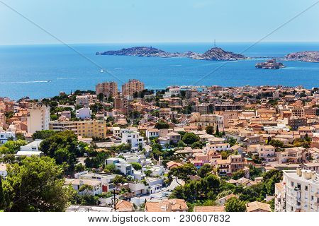 View Of Marseille And If Castle At Frioul Islands