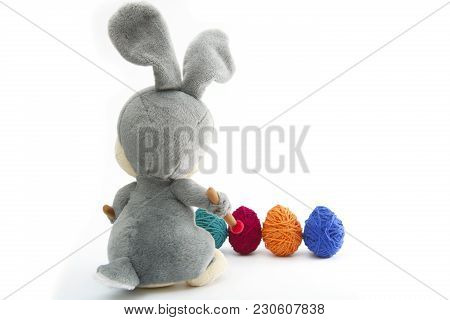 Easter Handmade Bunny With Eggs In Basket. Happy Easter.