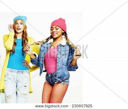 Diverse Nation Girls Group, Two Diverse Rase Teenage Friends Company Cheerful Having Fun, Happy Smil
