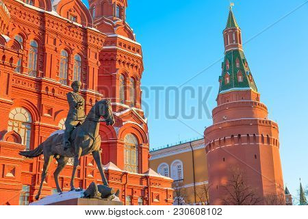 Moscow, Russia - March, 2018: Bronze Statue Of Soviet Marshall Georgiy Zhukov Near The Building Of T