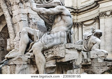 Fontana Dei Quattro Fiumi, Piazza Navona, Rome, Italy