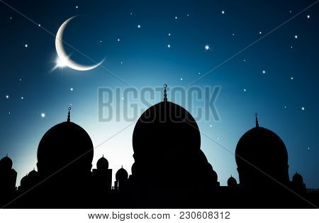 eid mubarak postcard with crescent moon and Sheikh Zayed grand mosque silhouette in the background