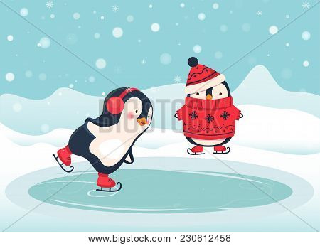 Penguin Ice Skater Cartoon. Penguin Isolated Illustration.