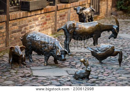 Wroclaw, Poland - March 9, 2018: View Of Massacre Of Wroclaw, Bronze Statue Of The Slaughter Animals