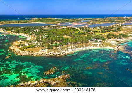 Aerial View Of Bathurst Lighthouse And Pinky Beach In Rottnest Island, Australia, On A Sunny Day. Sc