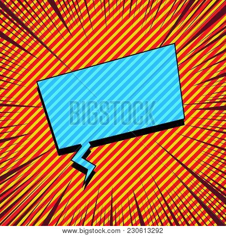 Comic Explosive Template With Blue Rectangular Speech Bubble Slanted Lines And Rays Effects. Vector