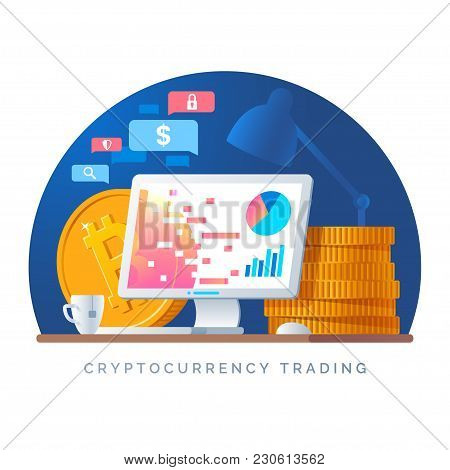Cryptocurrency Trading Illustration. Workplace With Computer And Pile Of Gold Coins. Purchase Of Dig