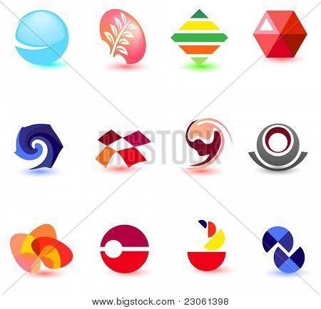 Modern colorful symbols for your design (part 2). Please visit my gallery to see similar.