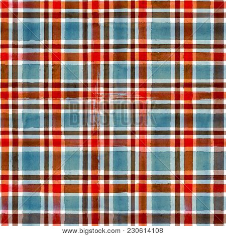 Watercolor Blue Red Brown Stripe Plaid Seamless Pattern Texture Background. Watercolour Hand Drawn S