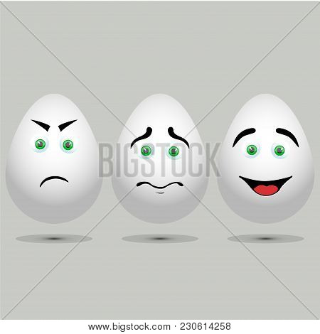 Three Vector Realistic White Eggs. Isolated Eggs On Grey Background.eggs With Painted Face. Sad And