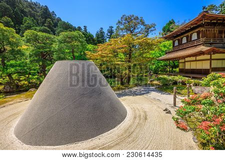 Zen Garden Sand Tower Named Kogetsudai, Representing Fuji Montain In Ginkaku-ji Temple. Ginkakuji Or