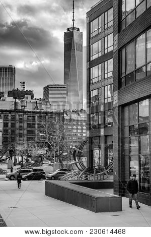New York-march 9: A Black And White View Of Tribeca With The Freedom Tower Off In The Distance On Ma