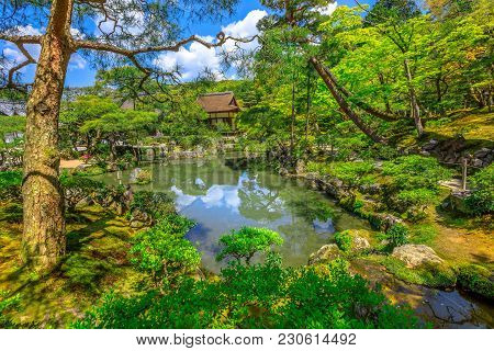 Small Pond Surrounded By A Garden In Spring Season Sunny Day At Silver Pavilion Or Ginkaku-ji Temple