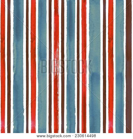 Watercolor Blue Red Brown Stripe Seamless Pattern Texture Background. Watercolour Hand Drawn Striped