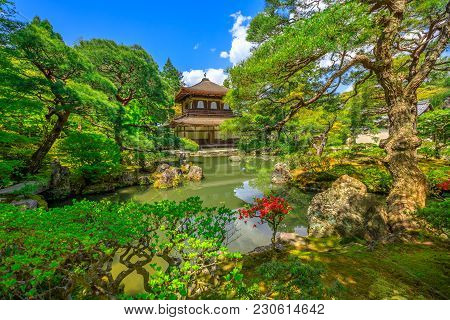 Scenic Landscape Of Pond In Springtime And Architecture Of Kannon-hall In Ginkakuji Temple. Ginkaku-