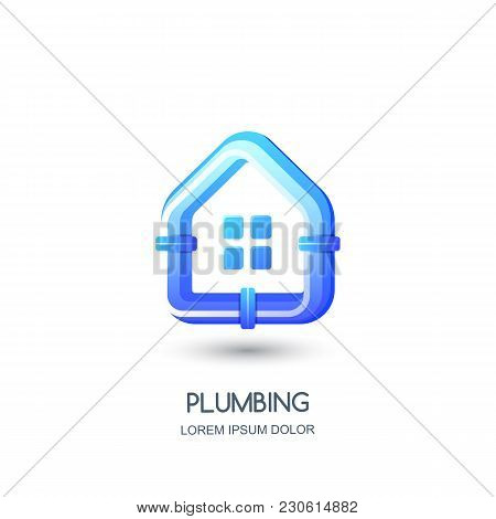 Vector Plumbing Logo, Icon, Emblem Design Template. Blue Pipe In House Shape. Concept For Pipelaying