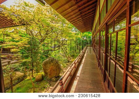 Kyoto, Japan - April 28, 2017: Wood Footpath Outside The Main Building Of The Famous Zen Temple Eika