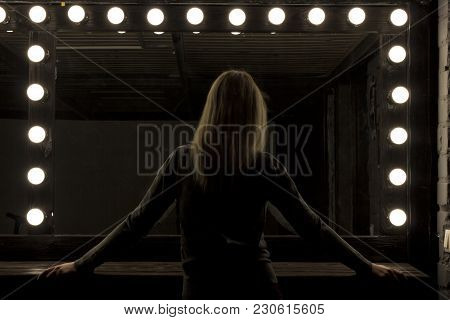 Silhouette Woman And Big Mirror. Fashion Trendy Style.party Fashion Concept. Copy Space.