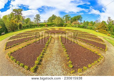 Round Flowerbed In The Gardens Of Dunvegan Castle In Dunvegan City Of Isle Of Skye, Scotland, United
