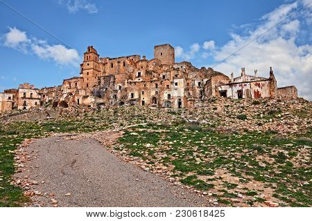 Craco, Matera, Basilicata, Italy: Landscape Of The Ghost Town That Was Abandoned  Due To Natural Dis