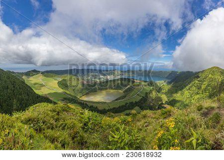 Panoramic view of Sao Tiago, Sete Cidades and Canario lagoon, Sao Miguel Island, Azores Portugal