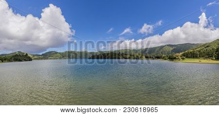 Panoramic image of Sete Cidades lagoon, Sao Miguel Island - Azores Portugal