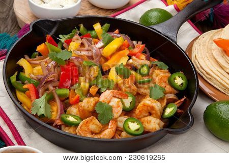 Shrimp Fajitas In Cast Iron Skillet