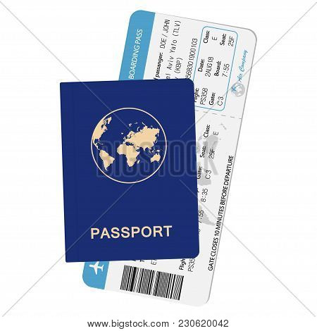 Passport And Airline Boarding Pass. Id Document With Airplane Ticket. Travel Concept Illustration. V