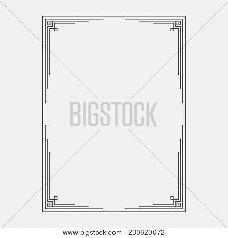 Decorated Line Frame. Ornamental Simple Frame Template. Vector Illustration.