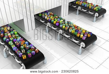 Gift Large Group Conveyors 3d Illustration, Horizontal