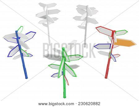 Direction Signposts Group, Isolated, 3d Illustration, Horizontal, Over White