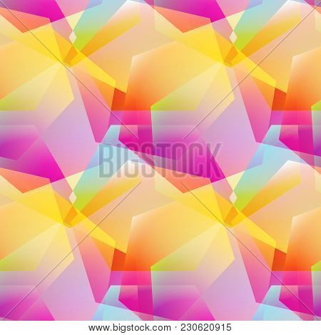 Holographic Vector Seamless Background. Gradient Layered Shapes. Colorflul Repeatable Pattern With V