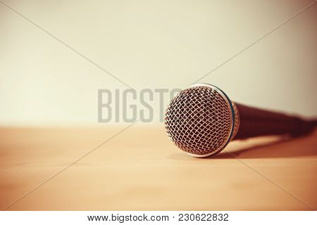 Close Up Microphone On The Table, Concept Of Speaker Or Teacher Preparation To Speak In Seminar Clas