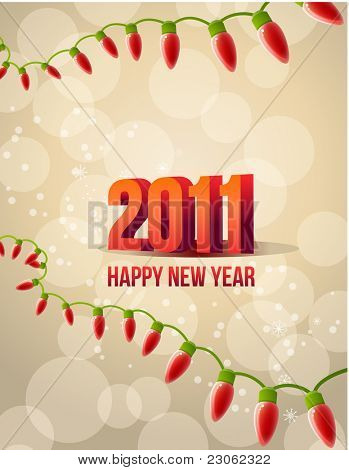 2011 new year with festive garland poster