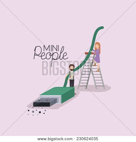 Mini People With Usb Cable Vector Illustration Design