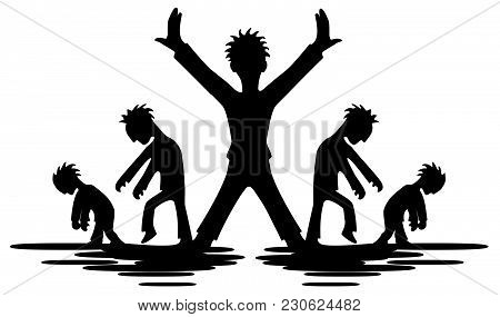 Celebrity Individualist Figure Stencil Black, Vector Illustration, Horizontal, Isolated