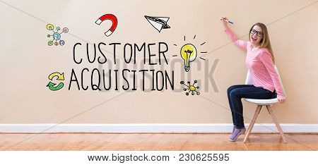 Customer Acquisition With Young Woman Holding A Pen In A Chair