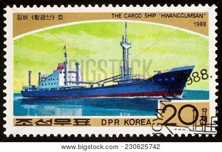 Moscow, Russia - March 11, 2018: A Stamp Printed In Dprk (north Korea) Shows Cargo Ship