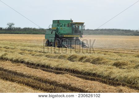 Russia, Poltavskaya Village - September 6, 2015: Combine Harvesters Don Agricultural Machinery