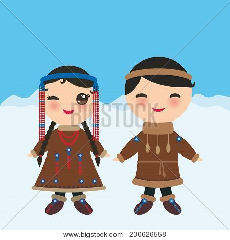 Chukcha Yakut Eskimos Boy And Girl In National Costume And Hat. Cartoon Children In Traditional Alas