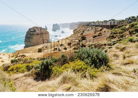 Lookout At Twelve Apostels With Grassland At The Great Ocean Road, Victoria, Australia
