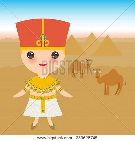 Ancient Egypt Boy In National Costume And Hat. Cartoon Children In Traditional Dress. Ancient Egypt,