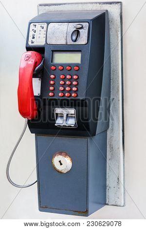 public telephone on a city street